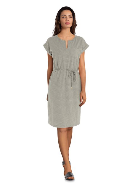 Kaki jurk met witte streepjes