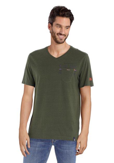 Kaki katoenen T-shirt met V-hals