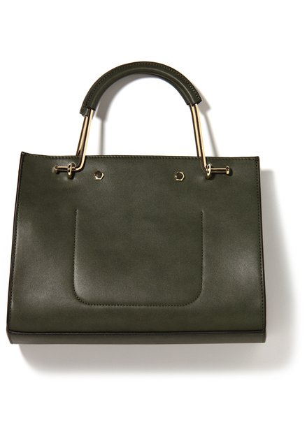 Kaki neplederen handtas met rond handvat