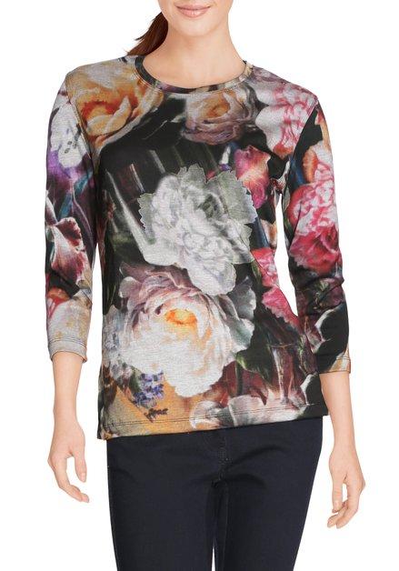 Kaki T-shirt met felroze bloemen