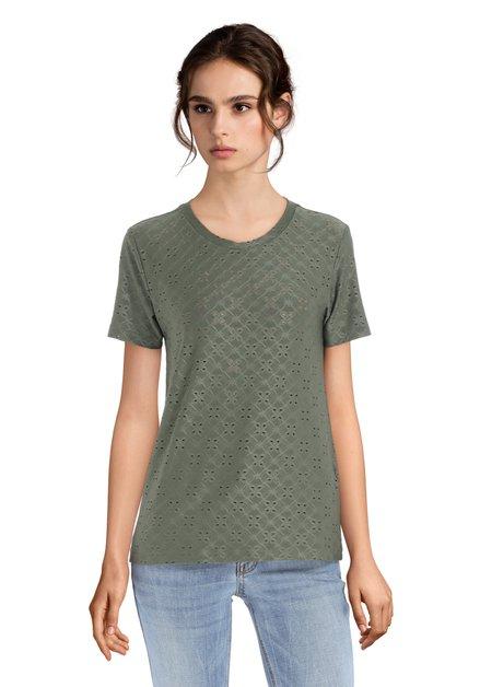 Kaki T-shirt met geperforeerde bloemenprint