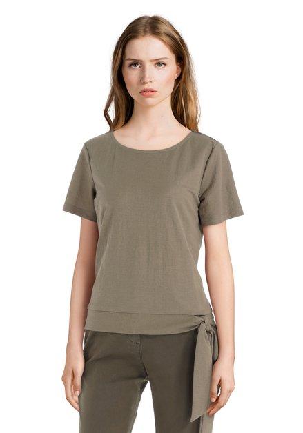 Kaki T-shirt met knoop