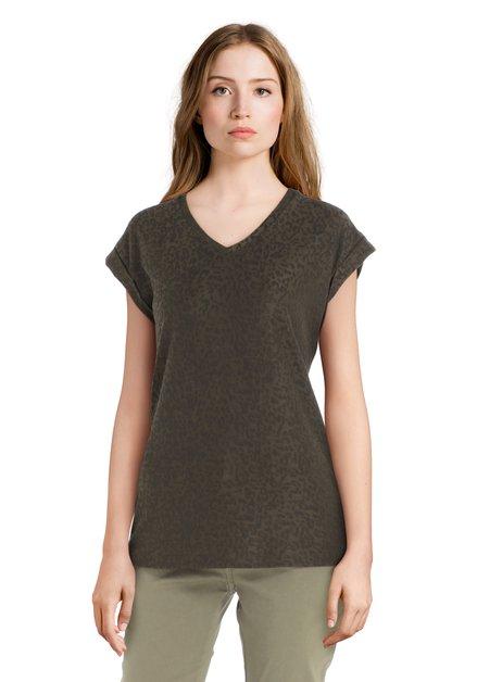 Kaki T-shirt met panterprint