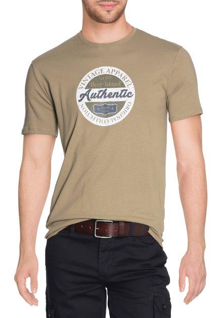 Kaki T-shirt met print en ronde hals