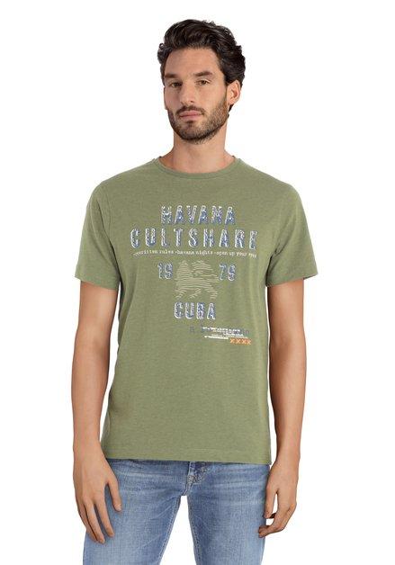Kaki T-shirt met print
