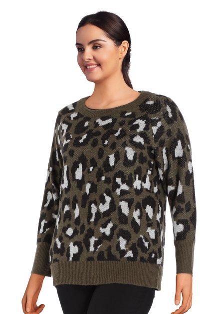 Kaki trui met wol en mohair