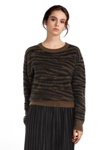 Kaki trui met zwarte strepen