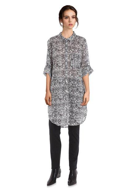 Katoenen blouse met grafische zwart-wit print