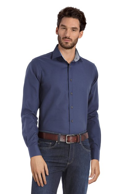 Klassiek donkerblauw hemd – slim fit