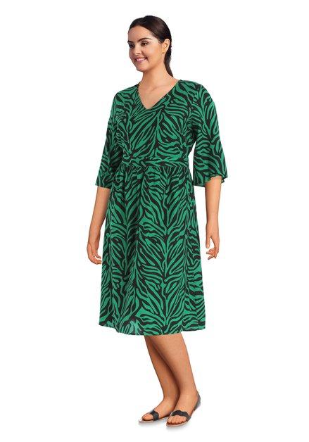 Kleed met zwart-groene zebraprint met V-hals
