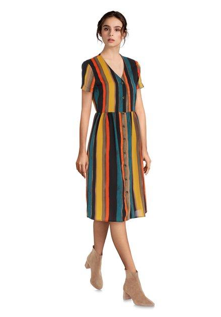 Kleurrijk gestreept kleed met v-hals