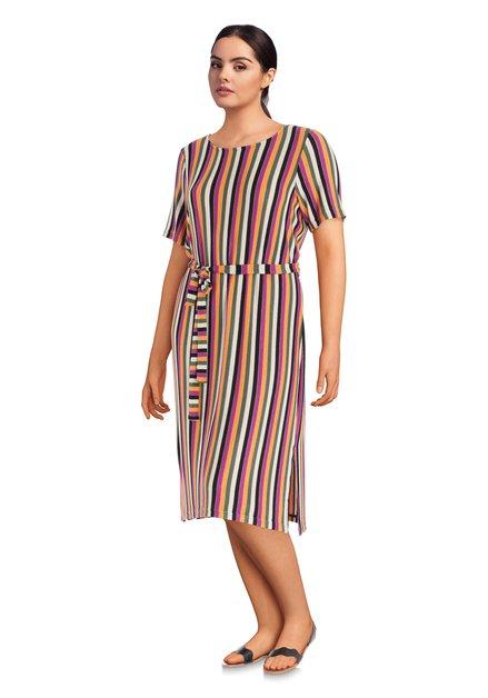 Kleurrijk gestreept lang kleed met bohemien look
