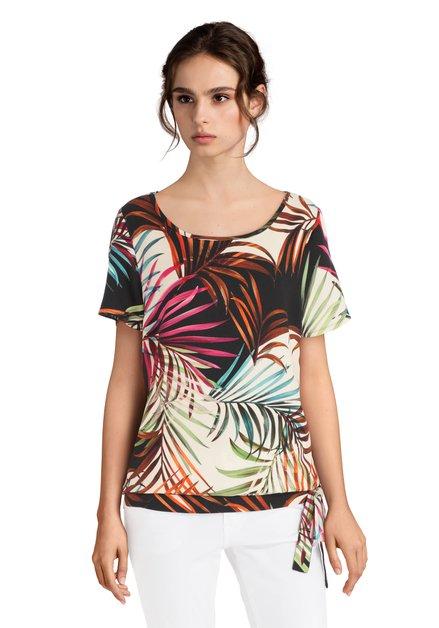Kleurrijk T-shirt met bladerprint en knoop