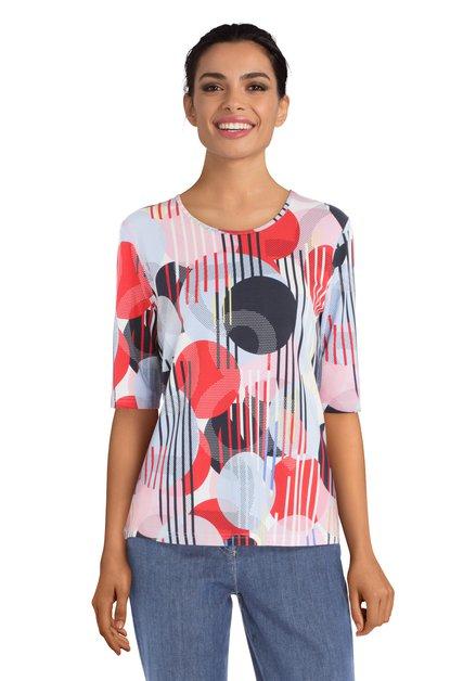 Kleurrijk T-shirt met bollen en streepjes