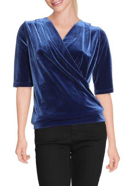 Koningsblauw fluwelen T-shirt met v-hals