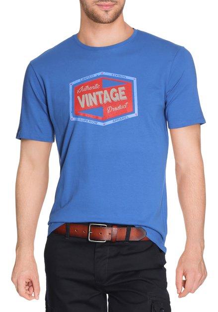 Koningsblauw katoenen T-shirt met ronde hals
