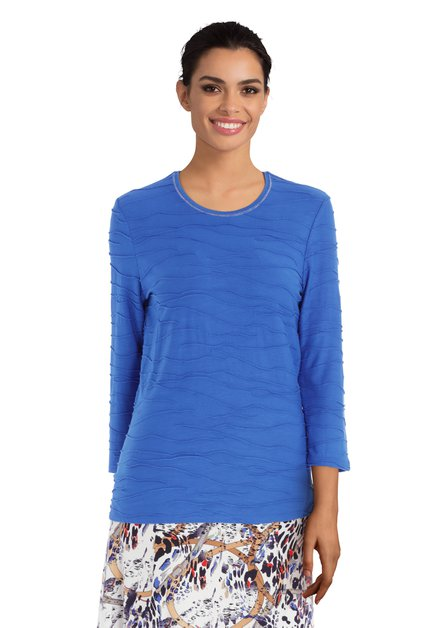 Koningsblauw T-shirt in reliëfstof