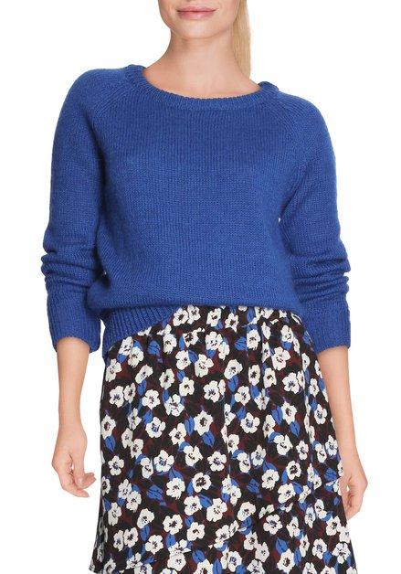 Koningsblauwe pull met wol en mohair