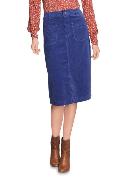 Koningsblauwe rok in fijn ribfluweel