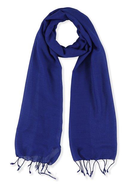 Koningsblauwe sjaal met franjes