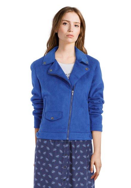 Koningsblauwe vest in faux-daim