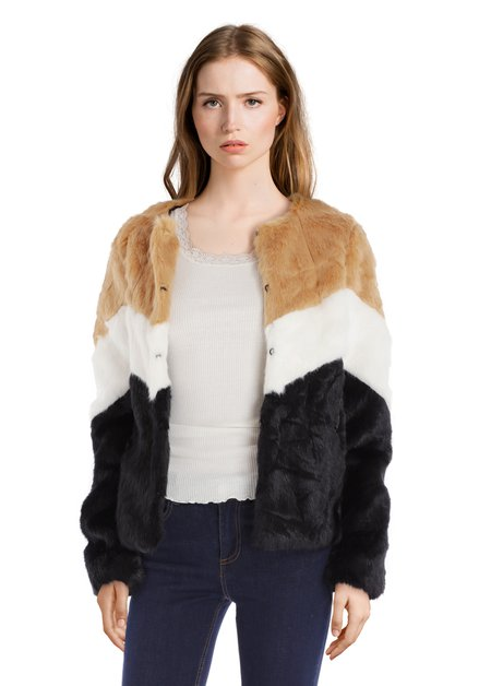 Korte zwarte vest in gestreept faux-fur