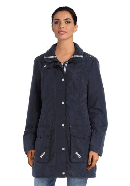 Lange blauwe jas met verborgen kap