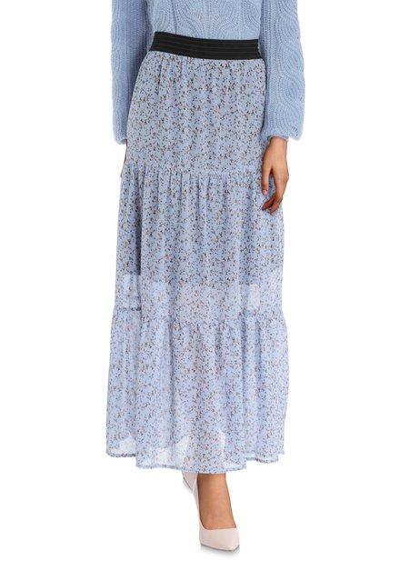 Lange blauwe rok met bloemenmotief