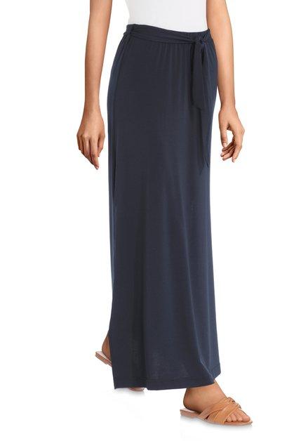 Lange donkerblauwe rok met striklint