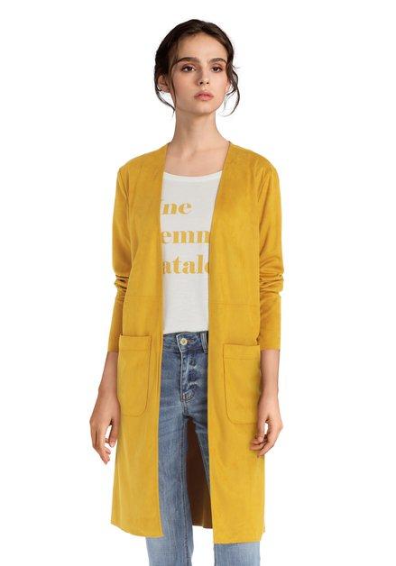 Lange gele vest met zakken