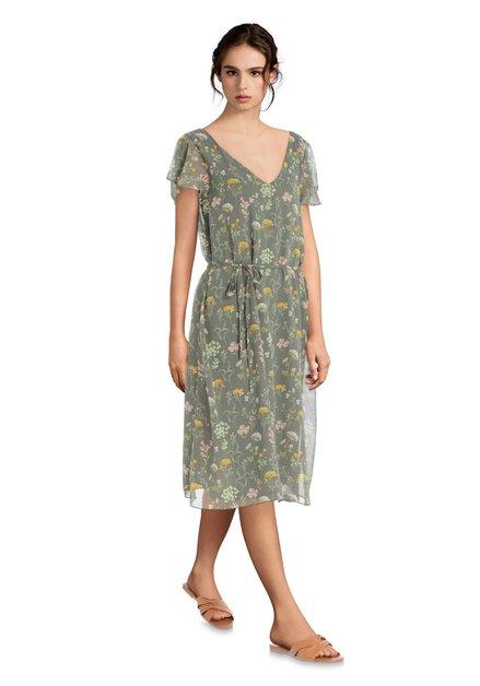Lange kaki jurk met bloemen