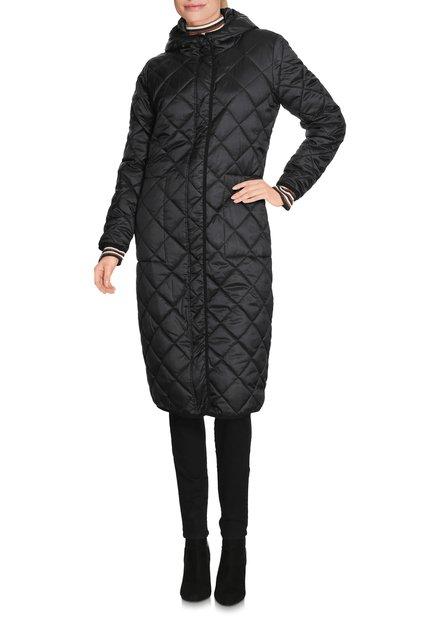 Lange zwarte gematelasseerde jas met kap