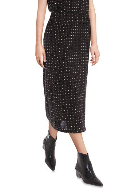 Lange zwarte rok met stipjes
