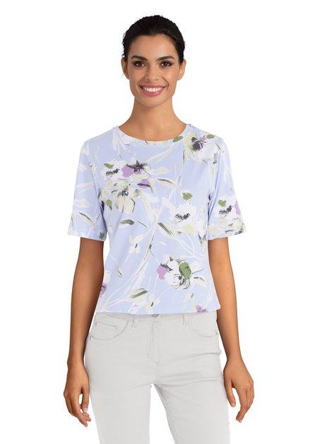 Lavendelblauw T-shirt met bloemen