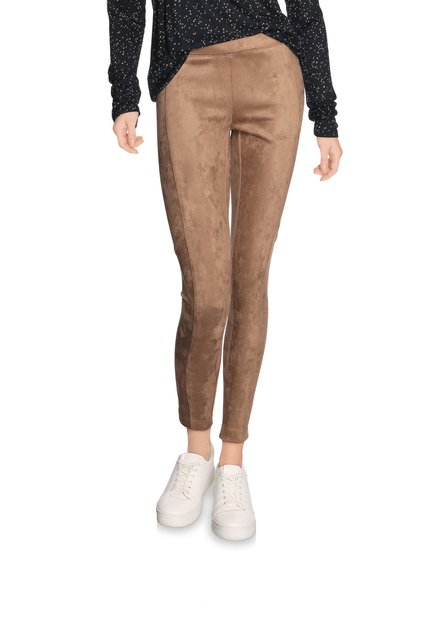 Legging brun sable en faux daim