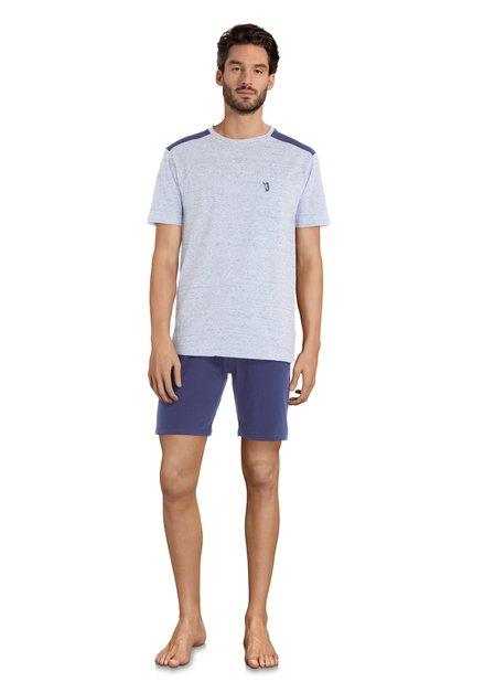 Licht/donkerblauwe pyjama - korte mouwen/broek