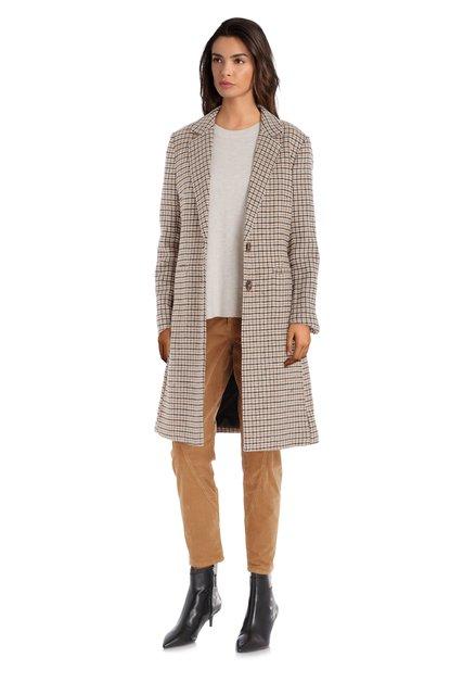 Lichtbeige geruite mantel met wol