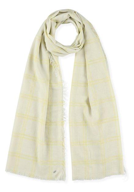 Lichtbeige sjaal met gele ruitjes
