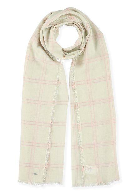Lichtbeige sjaal met roze ruitjes