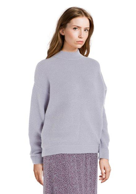 Lichtblauw gebreide trui met wol en mohair