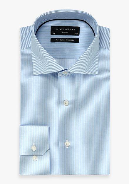 Lichtblauw gestreept hemd - slim fit