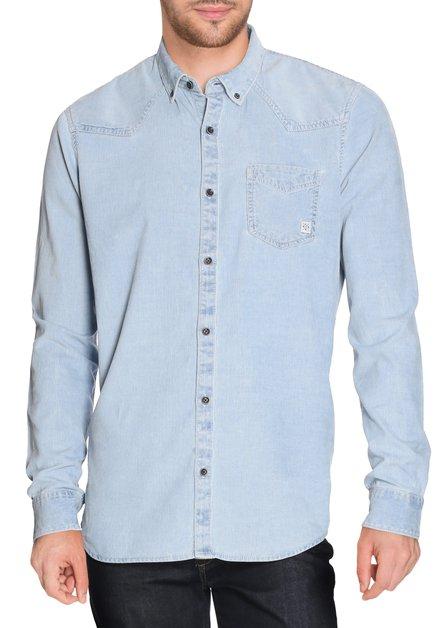 Lichtblauw hemd in geribd fluweel