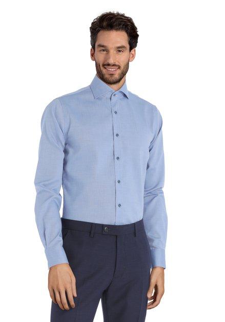Lichtblauw hemd met fijn textuur - Slim fit