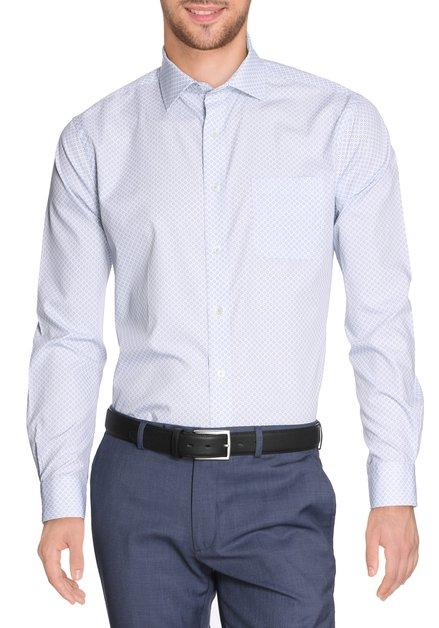Lichtblauw hemd met groene miniprint - regular fit