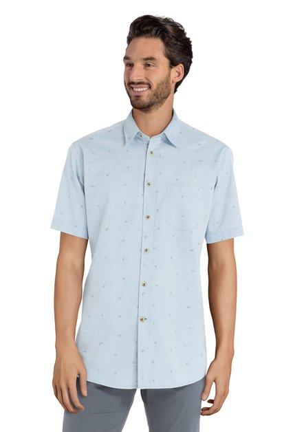 Lichtblauw hemd met korte mouwen en westernprint