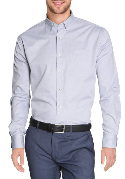 Lichtblauw hemd met miniprint - comfort fit