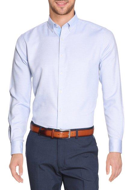 Lichtblauw hemd met miniprint - slender fit