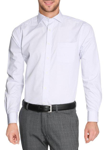 Lichtblauw hemd met print in reliëf - regular fit