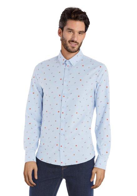Lichtblauw hemd met rode print -  slim fit