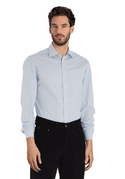 Lichtblauw hemd met stippen - slender fit